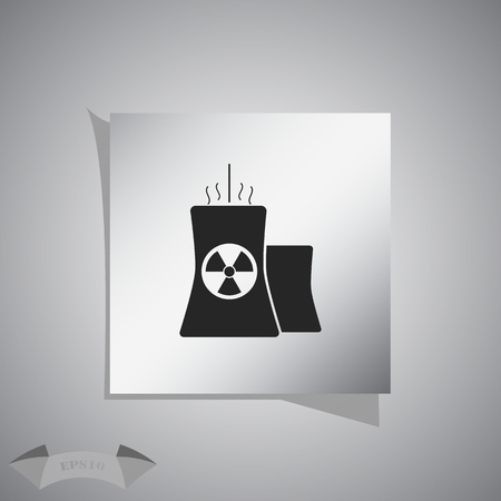 fission: Icon of atomic power station with radiation sign on pipe