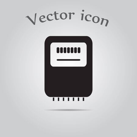 electric grid: Electricity power counter icon. Measurement sign. Three-phase. Vector Illustration