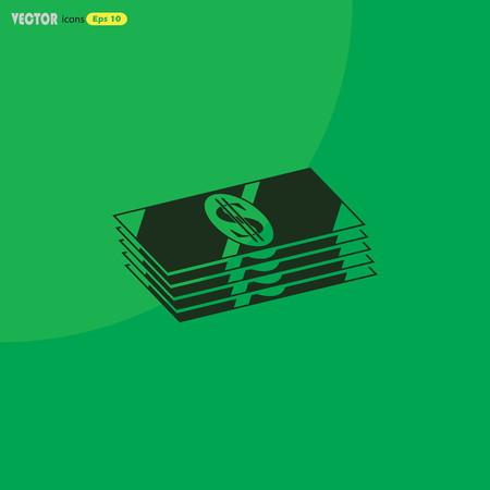 stack of cash: Stack of cash Icon Vector.