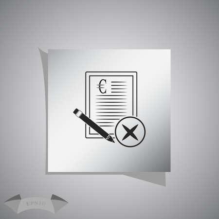 terminate: Euro contract vector icon