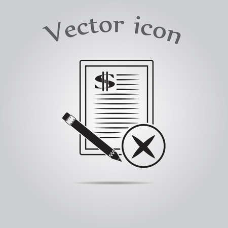 terminate: Dollar contract vector icon Illustration