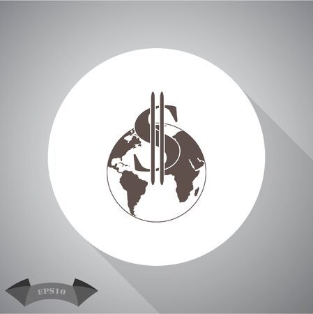 currency symbol: Dollar currency symbol with world globe icon