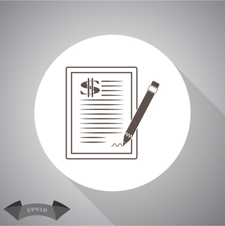 indenture: The dollar contract icon. Illustration