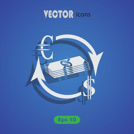 economic interest: Money convert icon. Euro Dollar