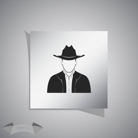 head shoulders: Man with hat icon Illustration