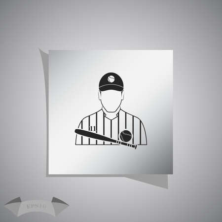 strong base: Baseball player icon Illustration
