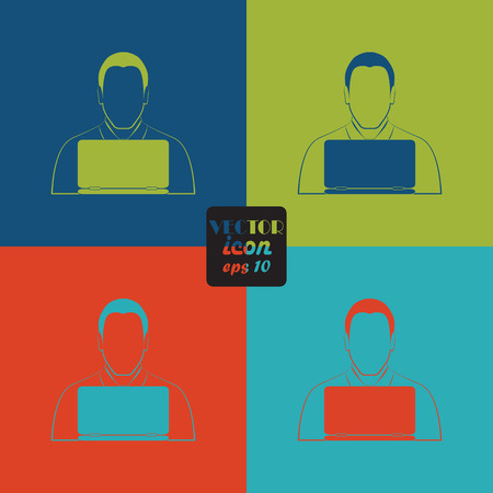 computer work: People with computer icon Illustration