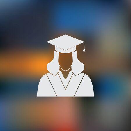 graduated: Graduated student. Vector icon Illustration