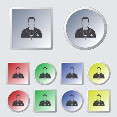 talk show: Man with microphone Vector icon