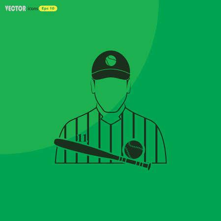 Baseball player icon Фото со стока - 53201440
