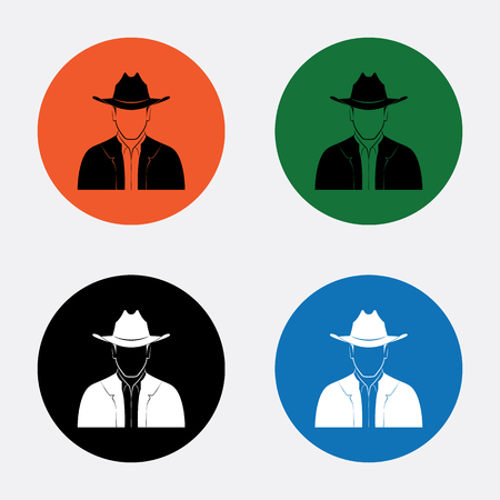 head and shoulder: Man with hat icon Illustration