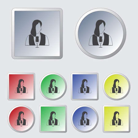 talk show: Woman with microphone Vector icon