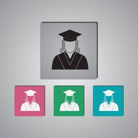 judgments: Judge icon avatar. Vector Icon Illustration