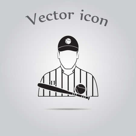 hit man: Baseball player icon Illustration