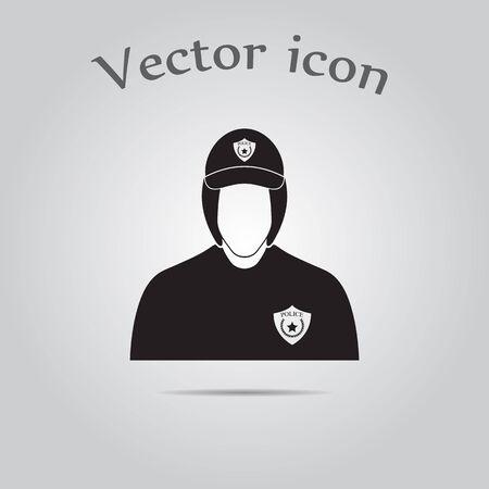 female cop: Police cadet Vector icon