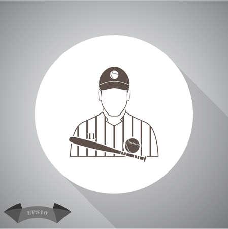 Baseball player icon Фото со стока - 53041055