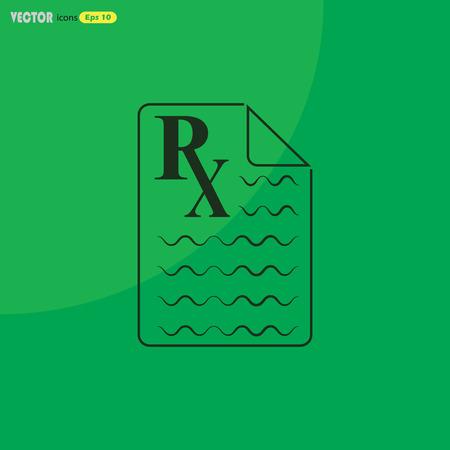 rx: Medical prescription Rx icon. Illustration