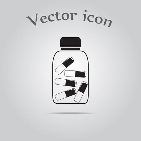 prescription bottles: pills bottle icon Illustration