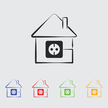 socket: house silhouette and socket icon