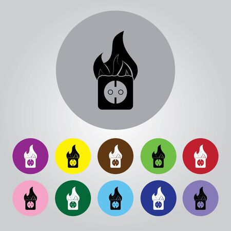 abstract fire: electrical outlet fire icon