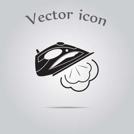 flat iron: Simple icon iron with steam.