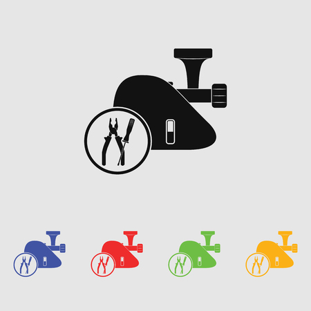 meat  grinder: Repair meat grinder vector icon