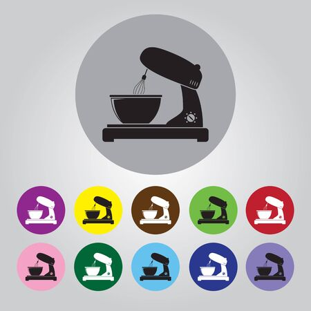 stirring: kitchen mixer flat icon Illustration