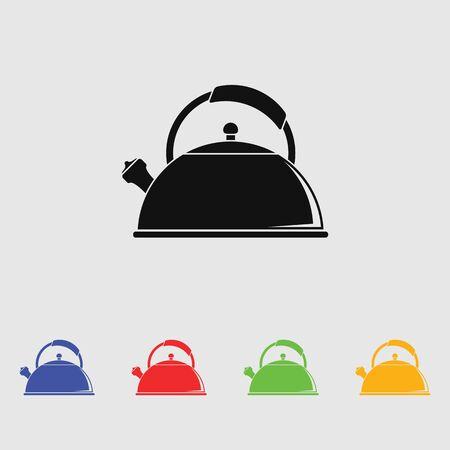 drink tools: Tea kettle vector icon.