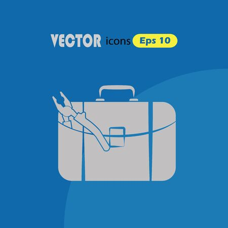 tooling: Toolbox vector simple icon. Illustration
