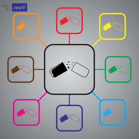 capsule: Open medical capsule icon