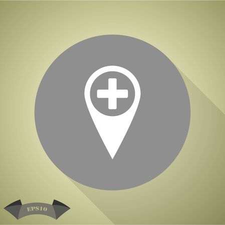 navigation aid: Map pointer with hospital icon