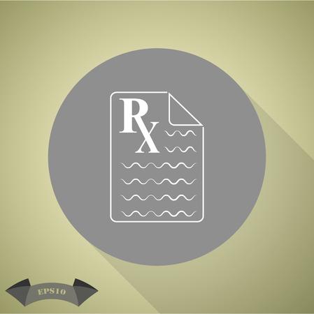 Medical prescription Rx icon. Illustration