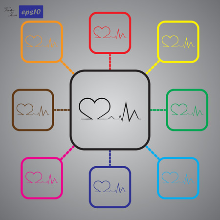 patient chart: Heart pulse icon Illustration