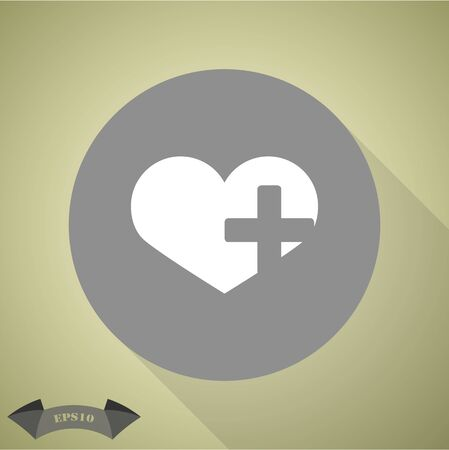 palpitations: Heart cross Icon Illustration