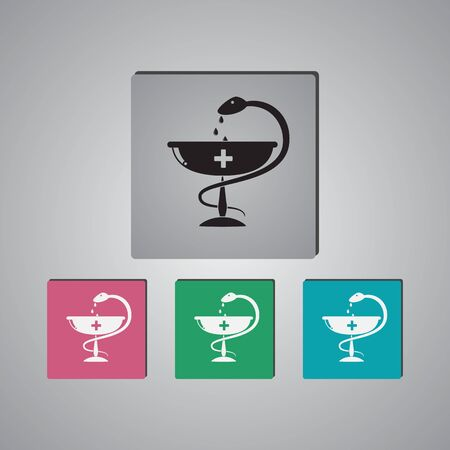 snake and a bowl: Medical sign icon