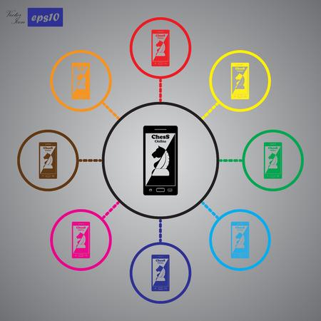 phone: Phone chess vector icon Illustration