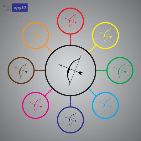 bow arrow: Arco icono de la flecha del vector