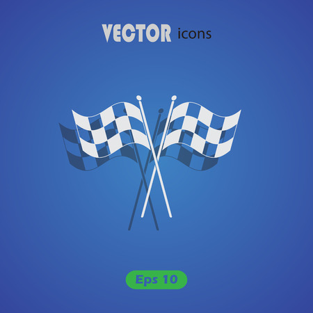 two crossed checkered flags: Checkered flags vector icon Illustration
