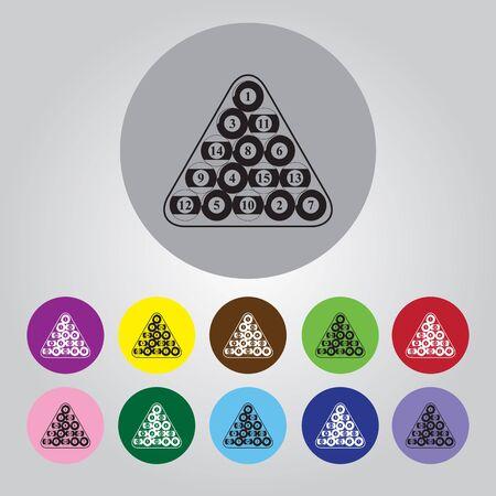 snooker tables: Billiard balls triangle - Vector icon isolated Illustration