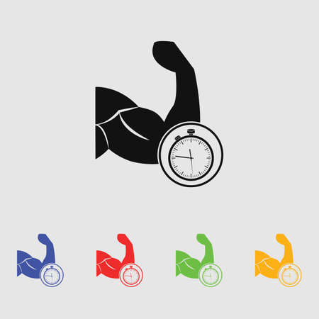 biceps: biceps stopwatch vector icon