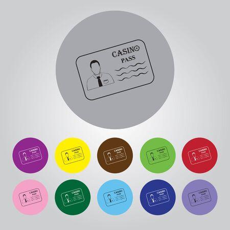 private club: Casino pass simple vector icon Illustration