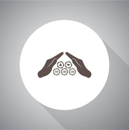 adrenalin: Casino chip in hand vector icon