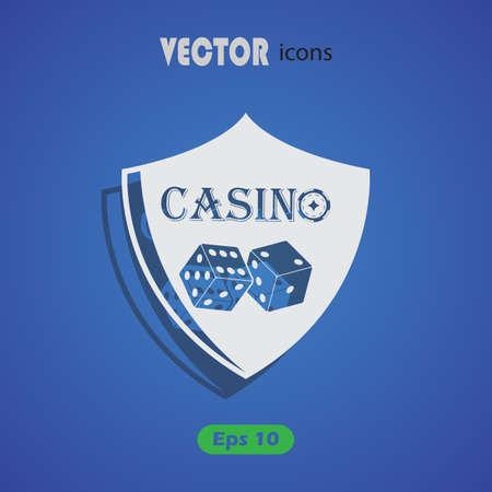 gamblers: casino shield simple vector icon