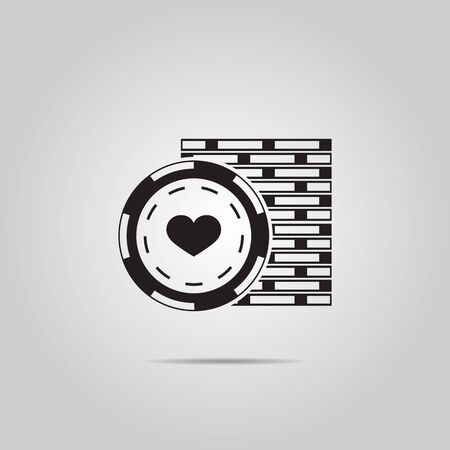 wager: Stack of Poker Chips Illustration. Vector icon