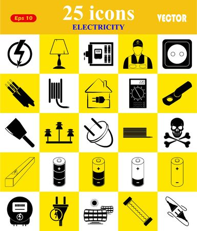electric meter: Electricity 25 icons set for web and mobile Illustration