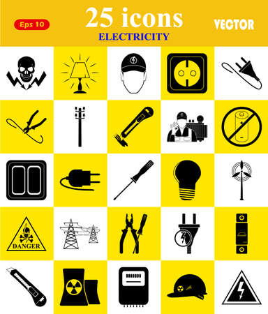 Electricity 25 icons set for web and mobile Illustration
