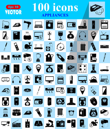 fridge lamp: Appliances 100 icons set for web and mobile