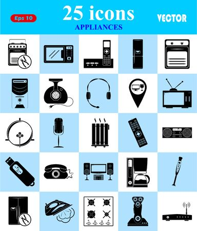 microwave antenna: Appliances 25 icons set for web and mobile