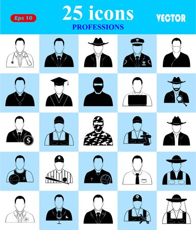 agrarian: Professions 25 icons set for web and mobile