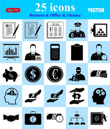 signing papers: Business, Office & Finance 25 icons set